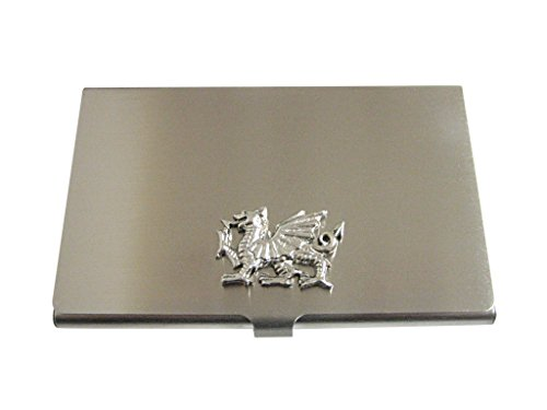 (Kiola Designs Silver Toned Textured Welsh Dragon Business Card Holder)