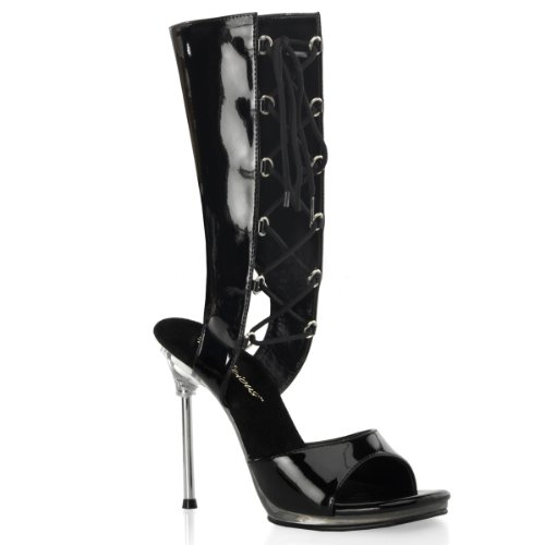 Fabulicious Chic-65 4 1/2 Heel, 1/4 Pf Mid-calf Lace Up Botaie Sandalia Blk / Clear