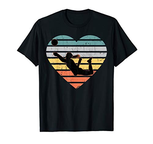 Volleyball Gifts for Teen Girls Retro Vintage Heart Tshirt