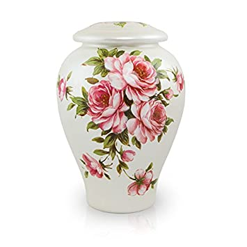 Rose Bouquet Ceramic Memorial Urn for Loved Ones – Large – Holds Up to 200 Cubic Inches of Ashes – Pink Cremation Urn for Ashes – Engraving Sold Separately