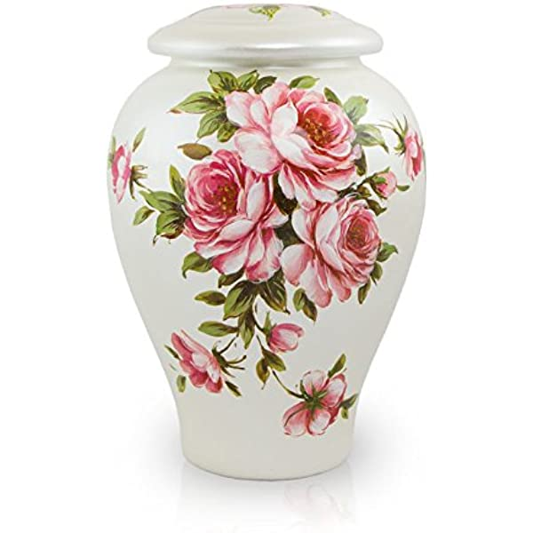 Amazon Com Rose Bouquet Ceramic Memorial Urn For Loved Ones Large Holds Up To 200 Cubic Inches Of Ashes Pink Cremation Urn For Ashes Engraving Sold Separately Home Kitchen