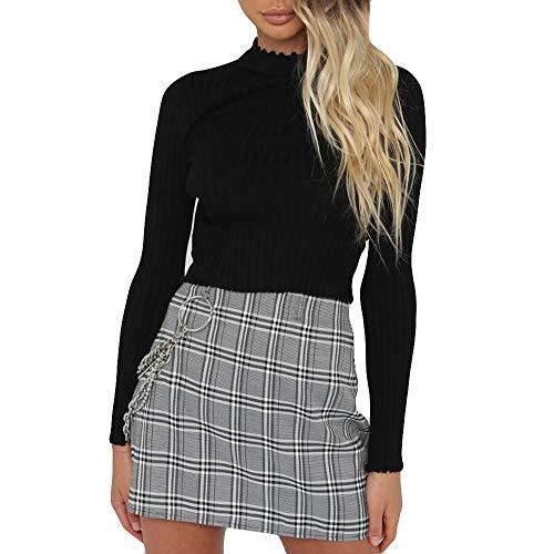 Sunhusing Women's Knit Pleated Turtleneck Short Crop Top Casual Long Sleeve Sweatshirt ()