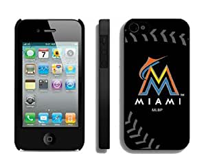 Best Iphone 4/4s Case Cover Miami Marlins Sport Design Coolest Phone Protector