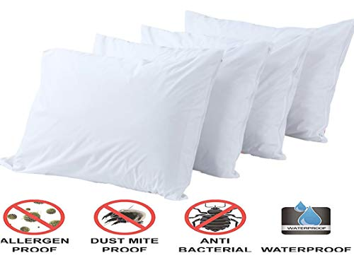Pillow Protectors 100% Waterproof Standard 4 Pack Anti Allergy Breathable Membrane Bed Bug Dust MiteLife Time ReplacementSmooth Fabric Zip Encasement Hypoallergenic Covers Cases White
