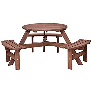 Picnic Table 6 Person Seat Patio Dining Seat Bench Set Pub Garden Yard Wood