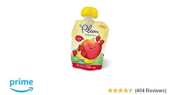 Plum Organics Mashups, Organic Kids Applesauce, Strawberry & Banana, 3.17 Ounce, 4 Count (Pack of 6)