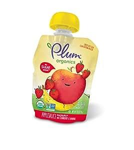 Plum Organics Mashups, Organic Kids Applesauce, Strawberry & Banana, 3.17 ounce pouch, 4 count (Pack of 6)