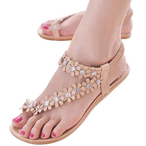 Sandals with White for Women - POHOK Women Summer Bohemia Flower Beads Flip-flop Shoes Flat Sandals(39, Khaki)