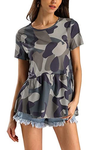 (Hibluco Women's Short Sleeve Round Neck Floral Print Swing Tunic Top Blouse Camouflage)
