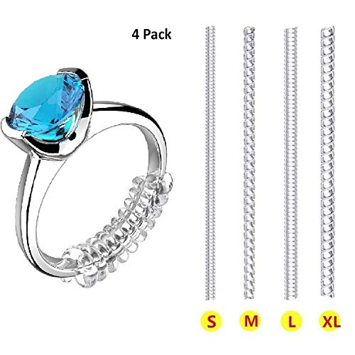 Number 7 Sterling Silver Charm - Ring Size Adjuster for Loose Rings Invisible Transparent Silicone Guard Clip Jewelry Tightener Resizer 4 Sizes Fit Almost Any Ring 4 Pack