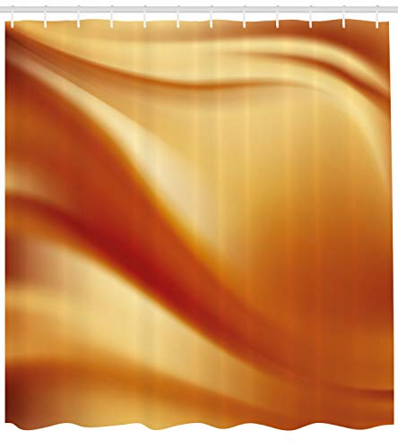 (Ambesonne Orange and Yellow Shower Curtain, Abstract Vivid Colors in Wavy Composition Fantasy Romantic Curves, Fabric Bathroom Decor Set with Hooks, 70 Inches, Orange Yellow)
