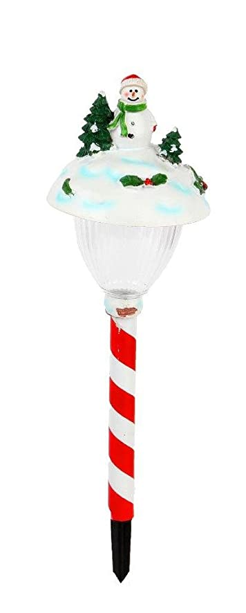 lightahead solar powered led stake lights christmas snowman stake light outdoor garden path light theme - Solar Powered Outdoor Christmas Decorations