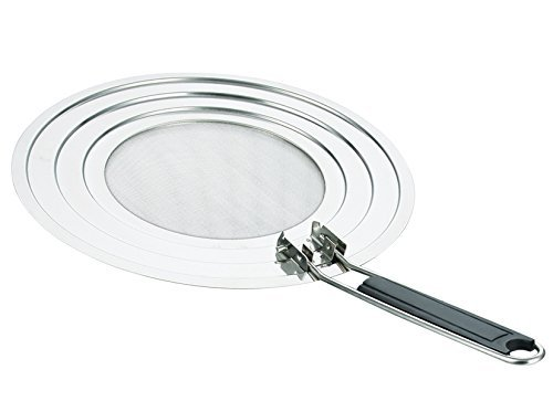 Stainless Steel Splatter Guard with Folding Handle - Best Splatter Screen to Protect Kitchen and Eliminate Grease Mess - Dishwasher Safe - Easy to Use and Store - Fits Multiple Size Pots and Pans