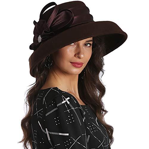 (FORBUSITE Women Wool Felt Hats Church Dress Hat for Winter Vintage Handmade Tan)