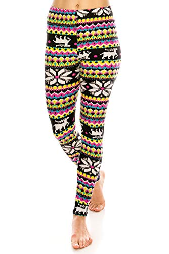 - ALWAYS Leggings Women Nordic Christmas - Printed Snowflake Reindeer Ugly Sweater Buttery Soft Stretch Pants Regular