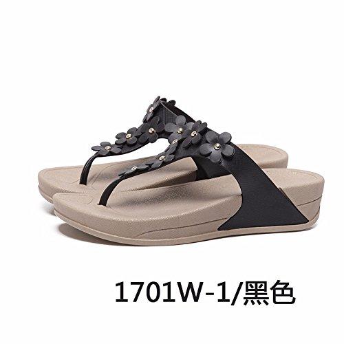moda pantofole scarpe flop spiaggia scarpe Il pantofole estate fiore da flip Nero BwIwWqHt