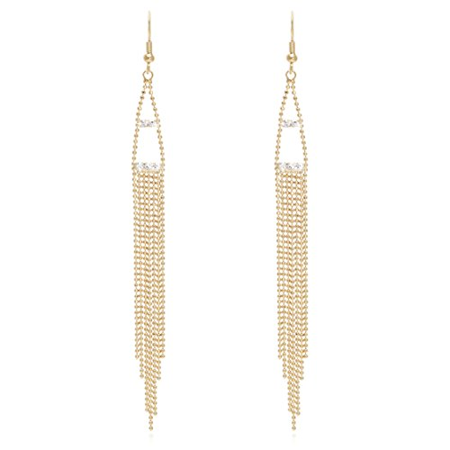 Crystal Chains Tassel Earring - Rhombus or Triangle Shaped Multi Layered Long Metal Tassel with Crystal Statement Earrings