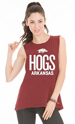 Venley NCAA Arkansas Razorbacks Women's Abby Muscle Tee, Medium, Cardinal Red - Cardinals Lounger