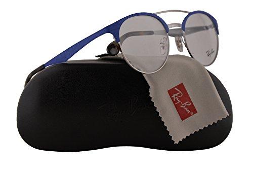 Matte Gunmetal Demo Lens - Ray Ban RX3545V Eyeglasses 51-20-145 Gunmetal Matte Light Blue w/Demo Clear Lens 2911 RB3545V RB 3545V RX 3545V