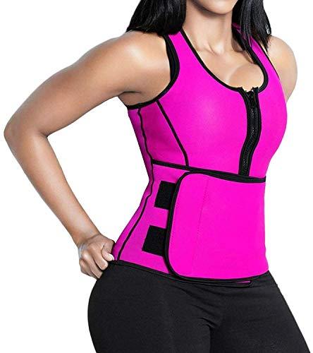 SHAPERX Women Neoprene Hot Sweat Sauna Suit Waist Trainer Vest Adjustable Waist Trimmer Belt Weight Loss Tank Top, SZ8012-Rose-New-3XL (Neoprene Waist Belt)