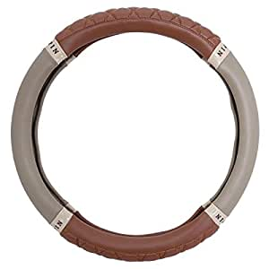 Steering Wheel Cover Accessories - Brown and Beige, L