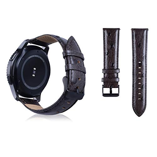 (#15) Ostrich Skin Texture Genuine Leather Wrist Watch Band for compatible with : Samsung Gear S3 22mm (Coffee)