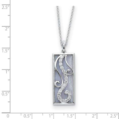 Blue Lace Agate and CZ Living Water Pendant Necklace Rhodium-Plated Sterling Silver 30x14MM 18