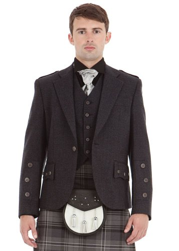 Kilt Society Mens Scottish Grey Tweed Braemar Kilt Jacket & Vest 48 Long by Kilt Society