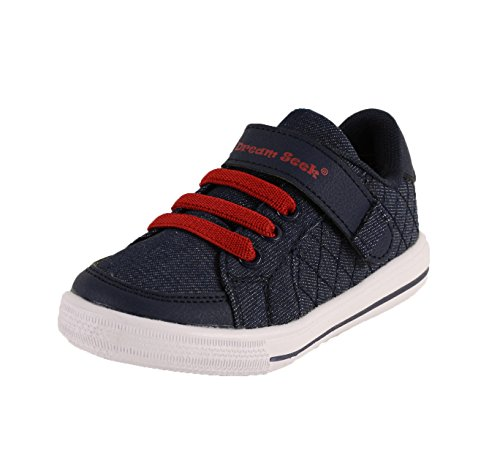 (Dream Seek Boys Little Kid 1390 Navy Athletic Casual Hook and Loop Fastener Strap Fashion Sneaker - 12 M US Little Kid)
