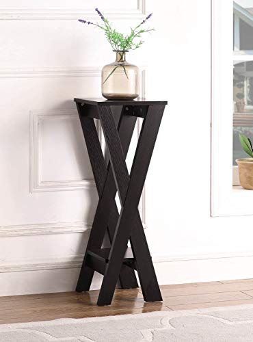 Cappuccino Finish X-Design 2-Tier Plant Stand Pedestal Side End Accent Table 32