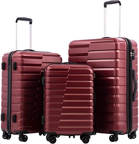 COOLIFE Luggage Expandable(best 28'') Suitcase PC ABS TSA Lock Spinner Carry on new style design (wine pink, 3 piece set)