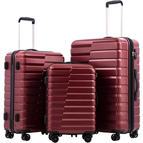 (COOLIFE Luggage Expandable Suitcase PC+ABS 3 Piece Set with TSA Lock Spinner Carry on new fashion design (wine red, 3 piece set))