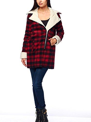 Ontwelfth Vintage Fleece Lined Plaid Coat, Red, Medium