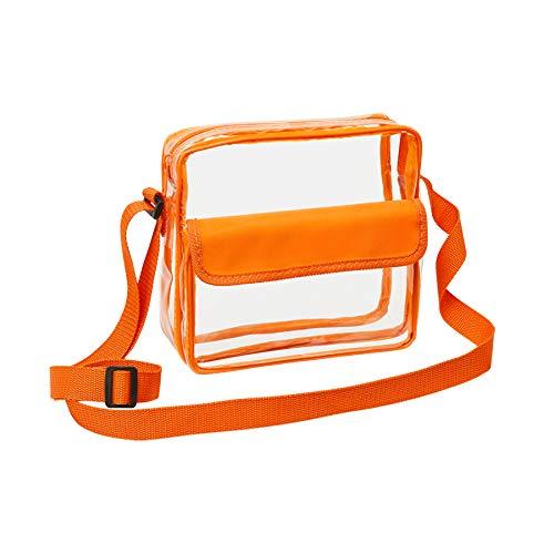 Clear Crossbody Messenger Shoulder Bag with Adjustable Strap NFL Stadium Approved Transparent (Tigers Football Tickets)