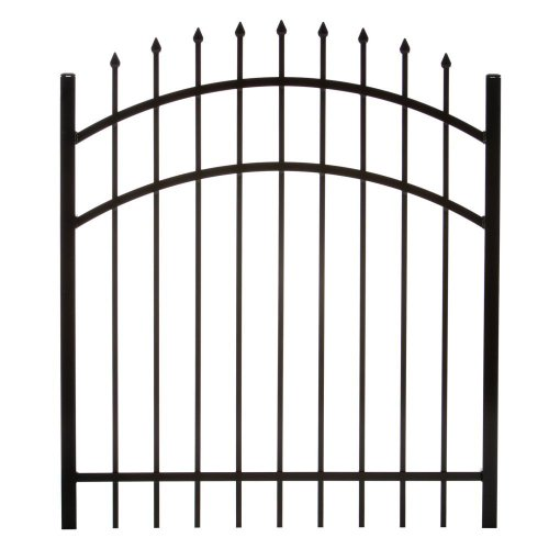 Specrail DIY Fence GR1483A048ARCHBL Branford Aluminum Arched 3-Rail Fence Walk Gate with Hardware, 48 by (Wrought Iron Aluminum Fence)