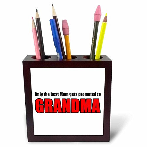 3dRose Only The Best Mom Gets Promoted to Nana Black Tile Pen Holder, 5