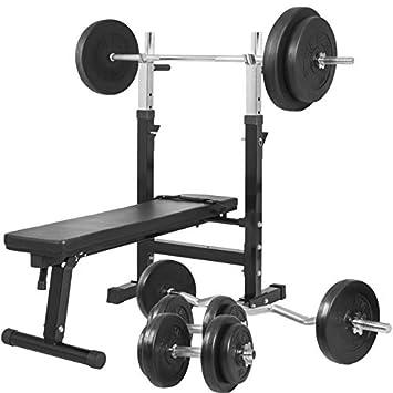 Gorilla Sports Banc De Musculation Gs006 Set Haltères Disques En
