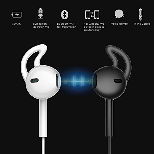 Amazon.com: Sound Intone H1 Bluetooth Headphones 4.1 Wireless Sports Stereo In-ear Earphones Earbuds with In-line Mic (Black/green): Electronics