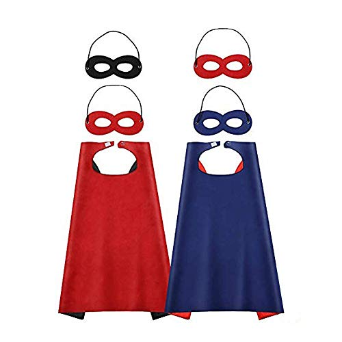 Diy Halloween Costumes For Children (JOYISEN 2 PCS Superhero Capes and Masks Double-Sided Reversible DIY Dress Up Capes for Halloween Christmas Costumes Cosplay (27.527.5)