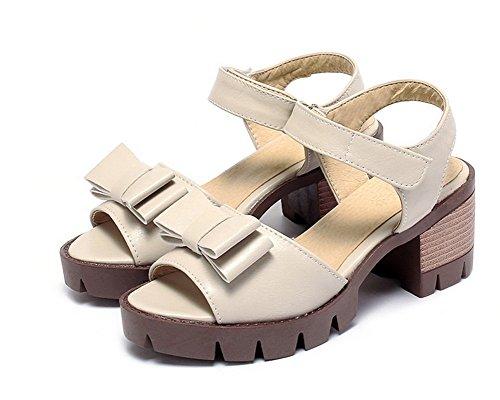 Talon Femme AgooLar Velcro Unie Beige Sandales Couleur à GMBLB014156 D'orteil Haut Ouverture 414wqTpIx