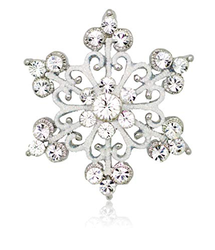 Akianna Silver-Tone Swarovski Element Crystals Scroll Snowflake Pin Brooch