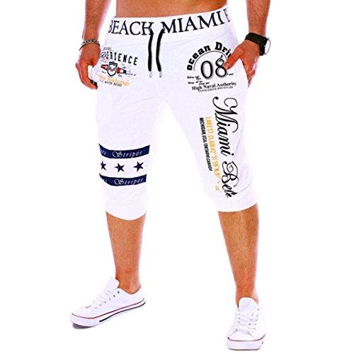Men's Sport Pants, Fashion Printing Shorts Drawstring Elastic Waist Casual Loose Jogger Trouser (XXL, White -
