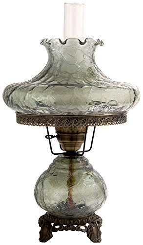 27.5 in. Crackle Hurricane Table Lamp w 14 in. Student Shade -