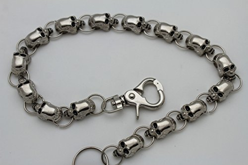Metal Links Chains Skulls Men Big Biker Silver Skeletons KeyChain Wallet Jeans fw47nq5BZx