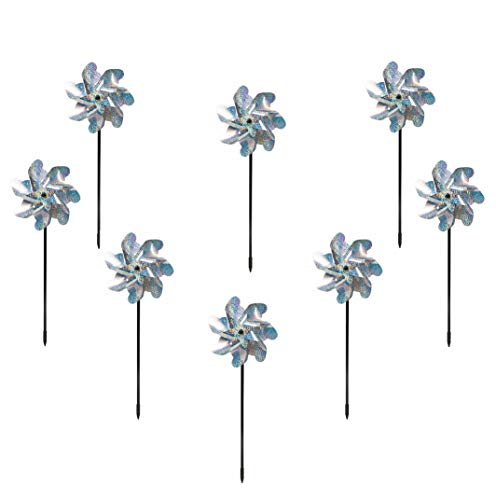 Bird-Flee Repellent PinWheels - Sparkly Silver Spinners - Reflective Scare Off Animals and Birds - 8 Pieces Set ()