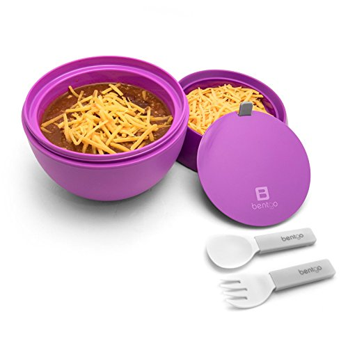 (Bentgo Bowl (Purple) - Insulated, BPA-Free Lunch Container with Collapsible Utensils Set - Leakproof Bowl Holds Soups, Stews, Noodles, Hot Cereals & More On-the-Go)
