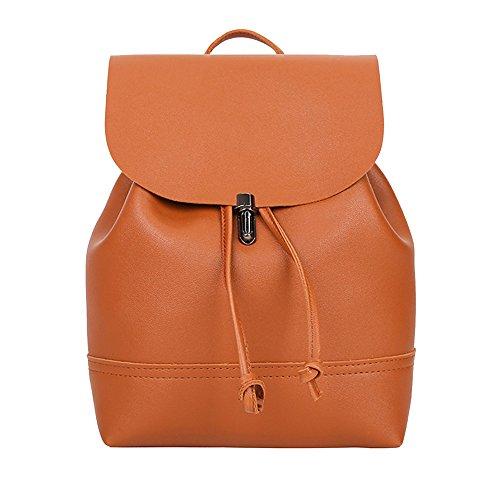 Vintage Ladies Pure Solid Color Leather School Bag Backpack Satchel Women Trave Shoulder Bag leather backpack Messenger bag coin clutch Brown Beige Pink Dark Gray Black Blue Gray Red Brown
