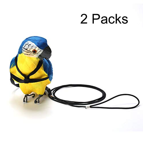 Adjustable Parrot Bird Harness Leash - VIPpet Anti-Bite Training Rope Outdoor Flying Harness And Leash ()