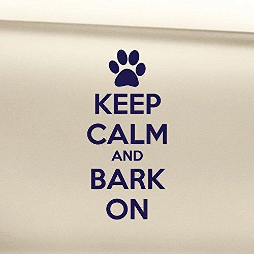 Keep Calm and Bark On Vinyl Decal Laptop Car Truck Bumper Window Sticker - Navy Blue