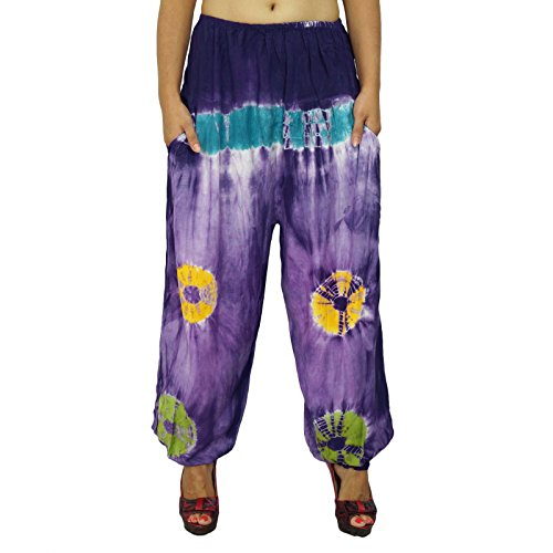 pijamas de rayón pantalones pantalones boho fondos gitanas desgaste del verano pantalones de las mujeres regalo para ella Bleu